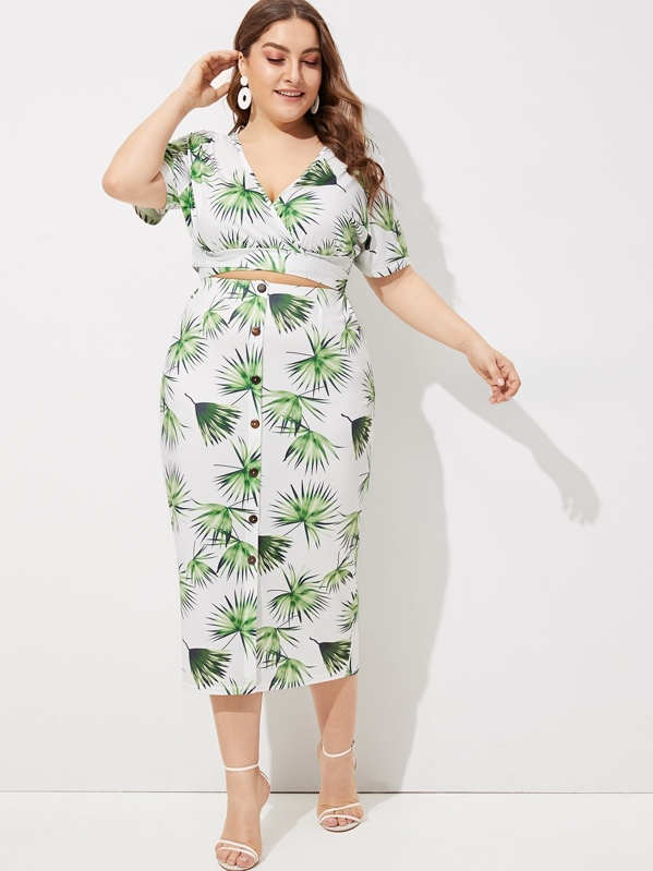 Plus Plant Print V Neck Top With Skirt by Sheinside