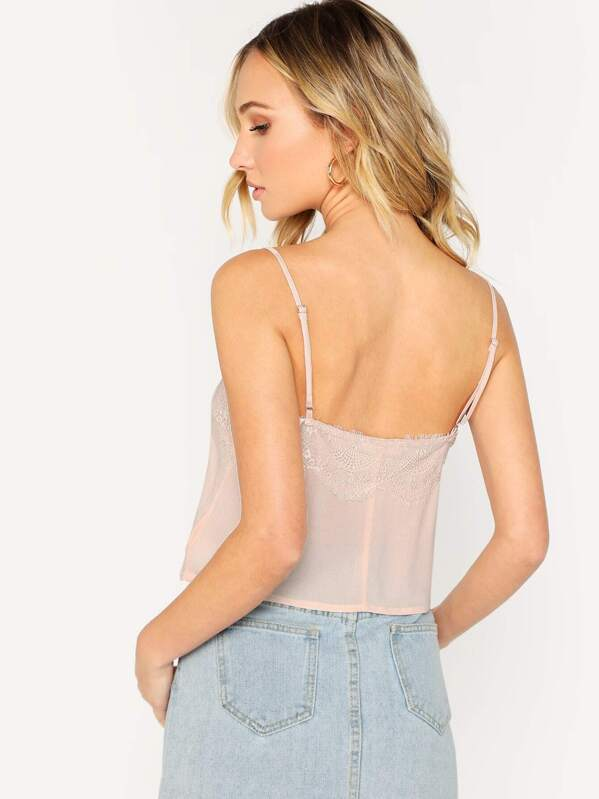 363c75cb06 Lace Trimmed V-Neck Cropped Cami Top   SHEIN