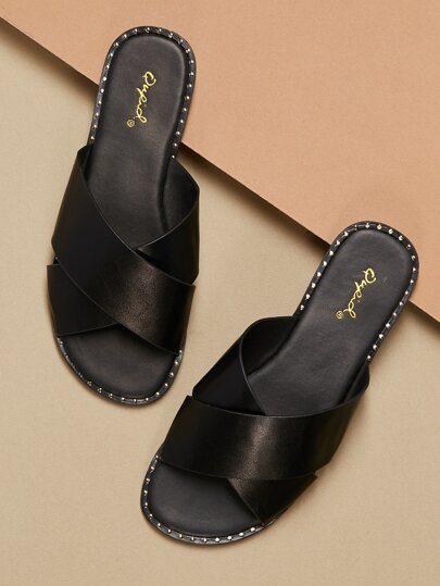 903ce7393a7a Stud Accents Wide Band Slip On Mule Sandals