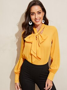 Tie Neck Solid Blouse