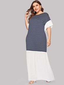 Plus Contrast Panel Striped Dress