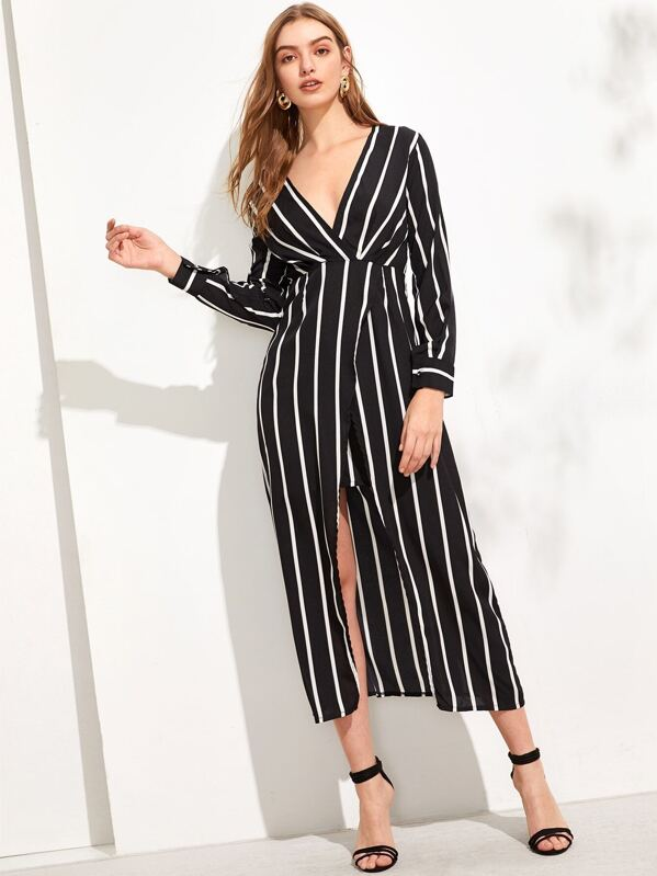 7cb827392dbe2 Cheap Surplice Wrap Split Striped Dress for sale Australia