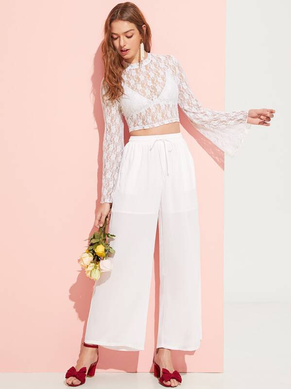 bb99aef160 Cheap Bell Sleeve Lace Top Without Bra & Palazzo Pants Set for sale ...