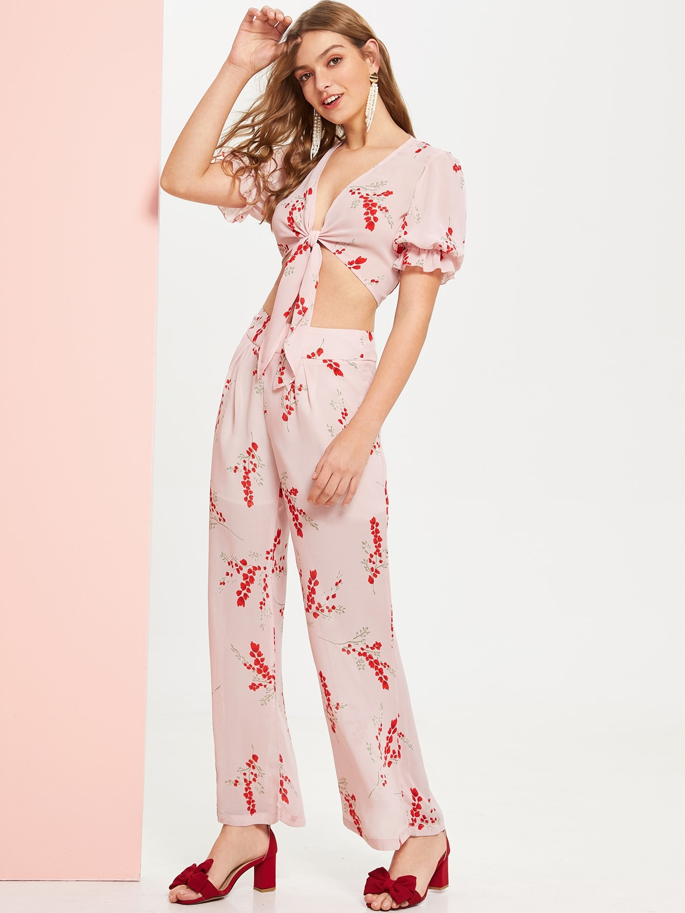 1ea2103722 Ruffle Cuff Knot Crop Top and Palazzo Pants Set | SHEIN IN