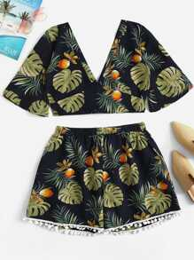 Plus Tropical Print Top With Shorts