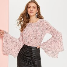 Tiered Bell Sleeve Frill Seam Dot Blouse