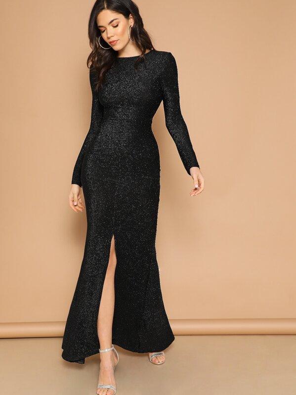 9c7782759 Open Back Slit Glitter Mermaid Prom Dress | SHEIN