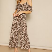 Cold Shoulder Ruffle Trim Leopard Palazzo Jumpsuit