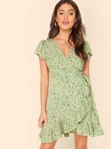 Ditsy Floral Self Tie Ruffle Wrap Dress