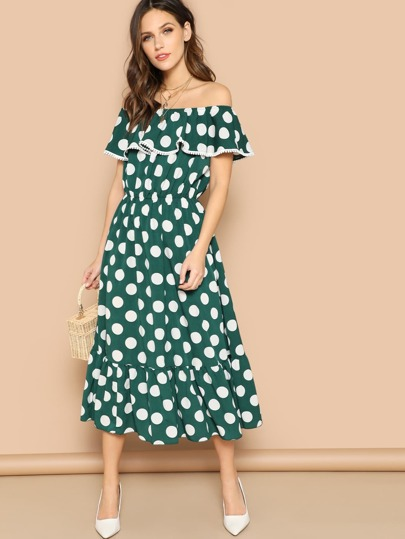 Polka Dot Ruffle Hem Bardot Dress