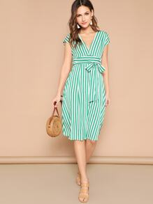 V Neck Mixed Striped Dress