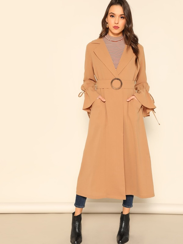 b9d30fb921 Drawstring Sleeve Buckle Belted Trench Coat