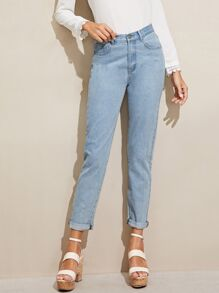Bleach Wash 5-pocket Mom Jeans
