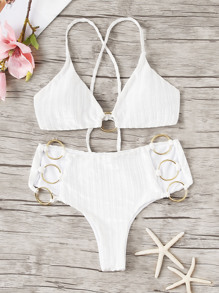 Ribbed Ring Linked Criss Cross Bikini Set