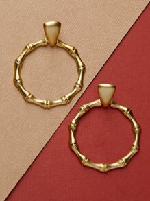 Brushed Gold Bamboo Detail Hoop Stud Back Earrings