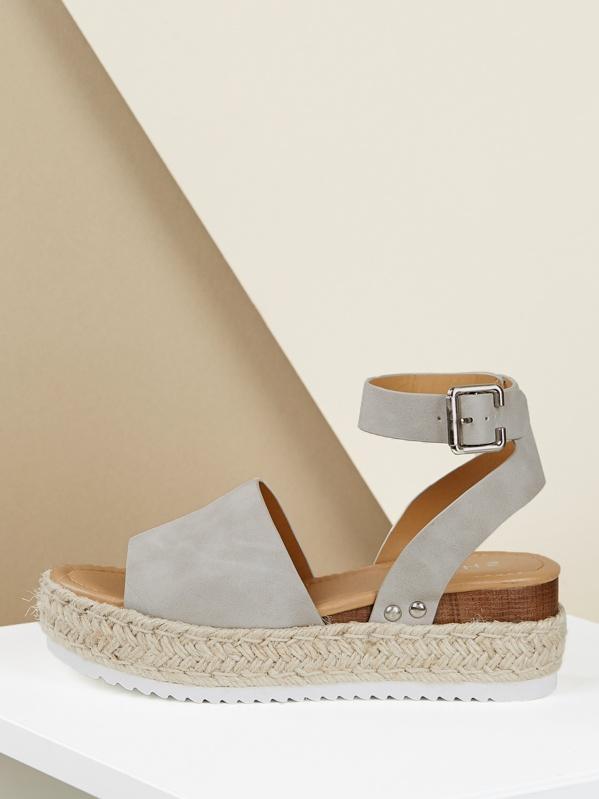 Sandals Espadrille Ankle Platform Wedge Strap hrtQCsd