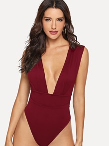 Deep V Neck Solid Bodysuit