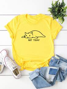Neon Yellow Cat And Letter Print Tee