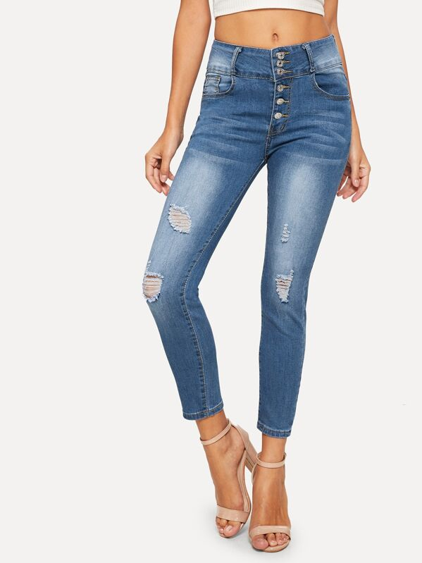 f44b1f4b7d Ripped Button Front Skinny Jeans