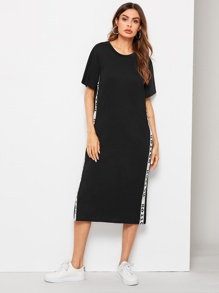 Letter Tape Side Split Hem Dress