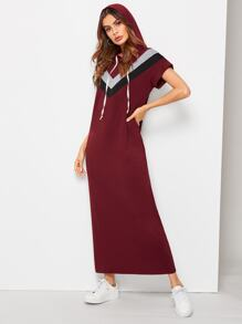 Cut And Sew Chevron Hooded Maxi Dress
