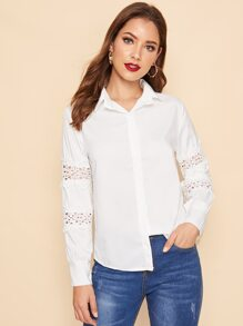 Cut-out Sleeve Trim Button Front Blouse
