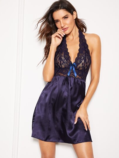 1761e8b5a8 Scalloped Trim Contrast Lace Backless Dress With Thong | SHEIN IN