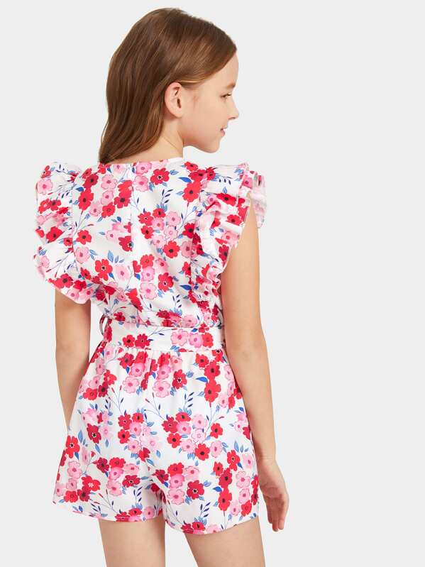 546489718a55 Girls Layered Ruffle Floral Print Belted Romper