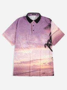 Men Contrast Collar Tropical Print Polo Shirt