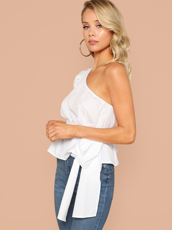 f9111ddcdbd99 One Shoulder Puff Sleeve Belted Solid Top