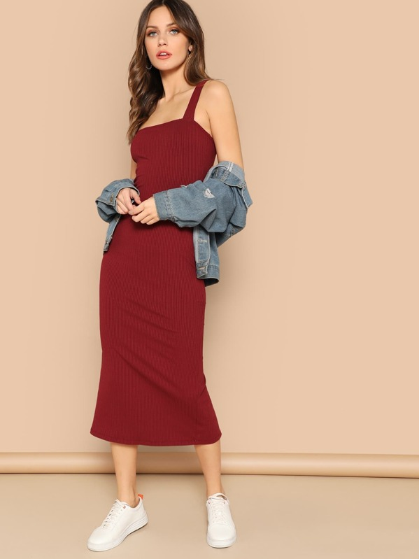 01794003634d Thick Strap Slit Back Ribbed Midi Dress