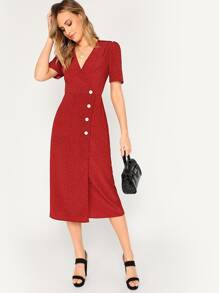 Button Front Surplice Neck Wrap Dress