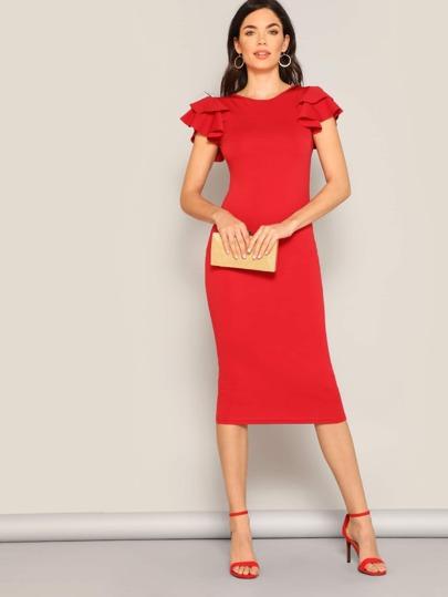 9bce37df5be33 Layered Ruffle Sleeve Crisscross Back Pencil Dress