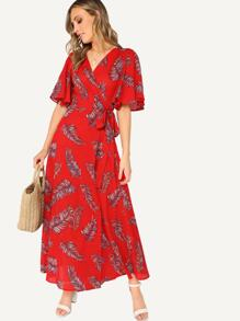 Surplice Wrap Knot Leaves Print Dress