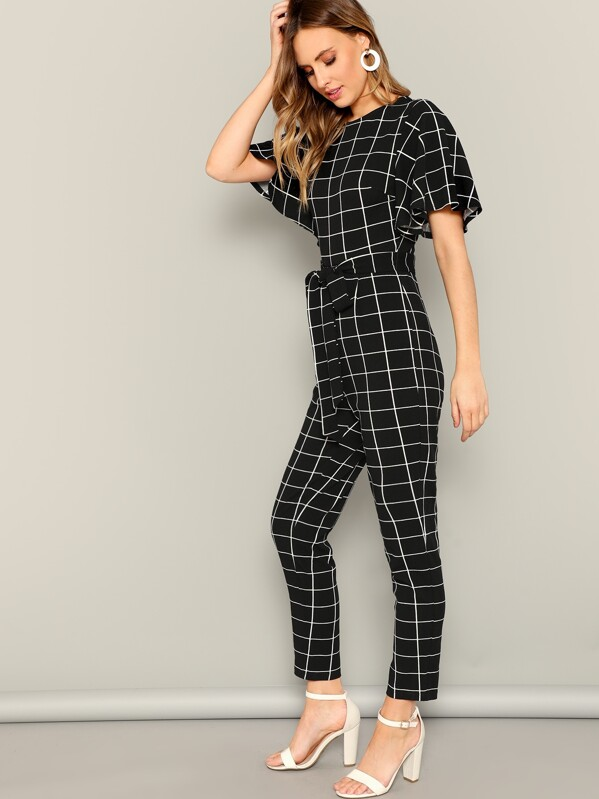 1b6f8ccb85a Cheap Flutter Sleeve Belted Grid Print Jumpsuit for sale Australia ...