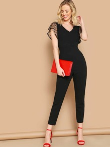 V Neck Dot Mesh Armhole Unitard Jumpsuit