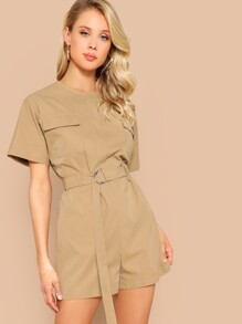 Flap Pocket Zip Back Belted Romper