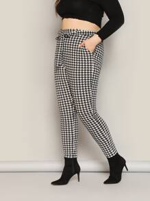 Plus Houndstooth Print Belted Pants