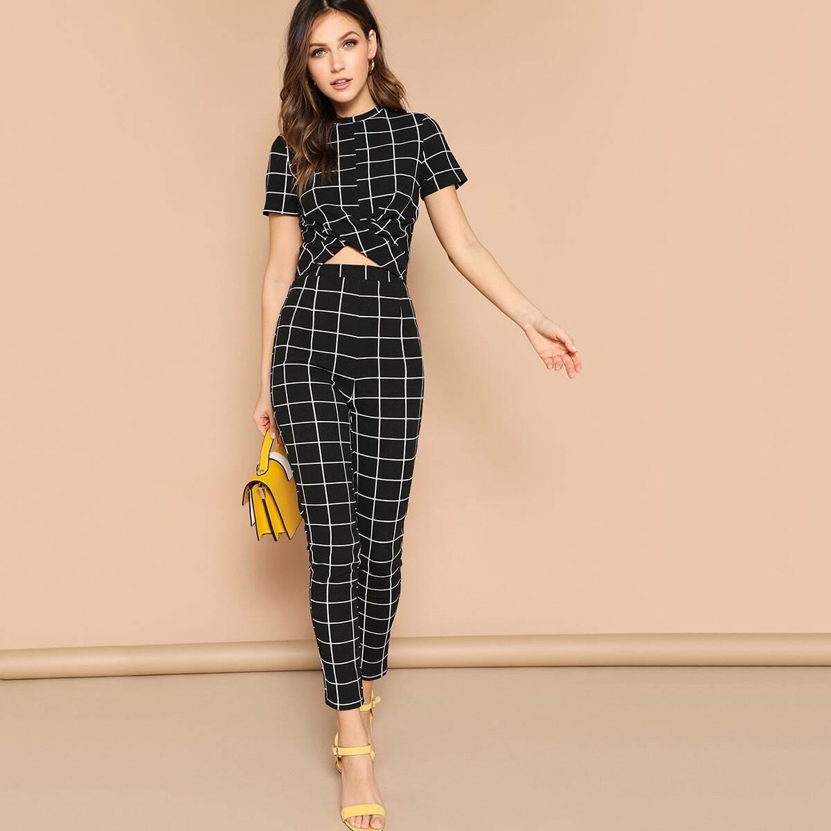 SHEIN coupon: Cross Wrap Front Grid Top & Pants Set