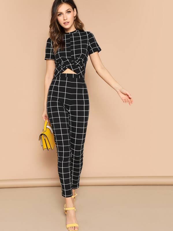 57ec2202e40 Cross Wrap Front Grid Top   Pants Set by Shein