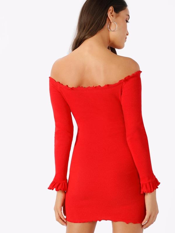 6f4b1050eb Neon Red Lettuce Trim Off Shoulder Bodycon Dress | SHEIN