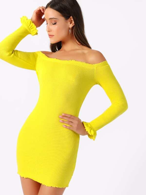 4e72ee15ad7a16 Neon Yellow Lettuce Edge Bardot Rib Dress