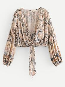 Blouson Sleeve Knot Front Floral Top