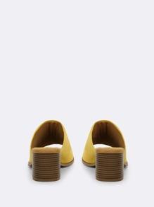 07279b2d02 Open Toe Wide Strap Slide On Block Heel Mules | SHEIN