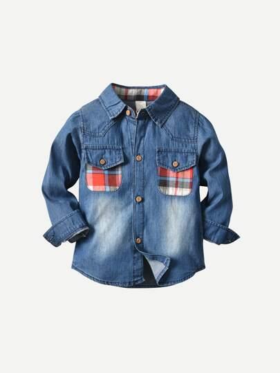 42e4831a2a4 Cheap Toddler Boys Plaid Pocket Denim Shirt for sale Australia