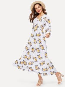 Floral Print Polka Dot Bishop Sleeve Dress