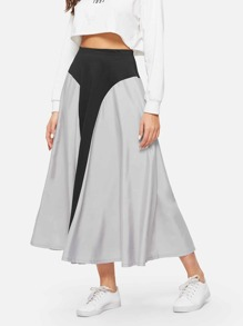 Color Block Flared Skirt