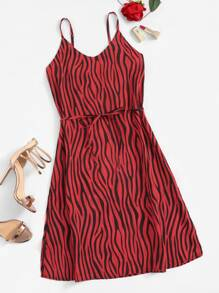 Zebra Print Tie Waist Cami Dress