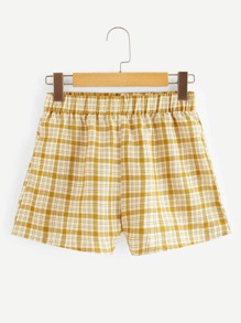 Elastic Waist Tartan Plaid Shorts