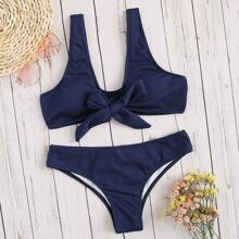 Ribbed Knot Front Top With Panty Bikini Set
